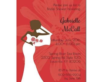 African American Bridal Shower Invitation - Red Chic |  African American Bridal Tea | African American Party Invitation