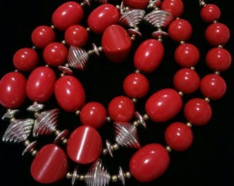 Red and silver Lucite beaded necklace