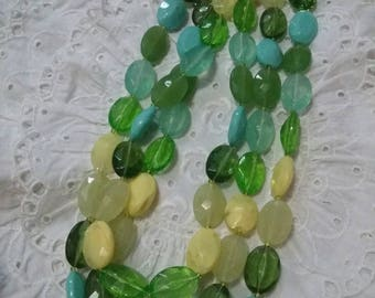Vintage summer colors Triple strand aqua green yellow beaded vintage necklace