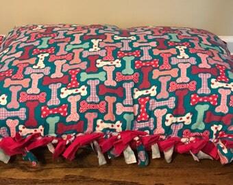 Pink dog bone pet pillow