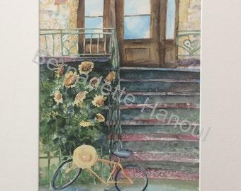 Montreal summer splash watercolor 13 x 17 bike sunflowers staircase House been Sun
