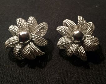 Vintage Molinard filigree silver clip on earrings