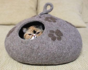 Cat house  Cat cave  Cat felted bed Organic wool house Beige brown cave Gift for cat Natural sheep wool cave Handmade wool house cat