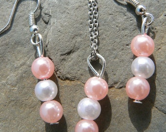 Pink and white pearl neacklace and earrings set