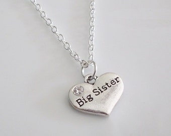 Big Sister Necklace, Big Sis necklace, Big Sister gifts, Big Sister jewelry, Big sister birthday,  Personalized Necklace, Silver necklace