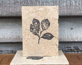 Hand Bound Journal BEECH LEAVES Covered with Handmade Paper