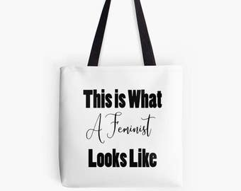 Feminist Tote Bag | This is What A Feminist Looks Like | Protest Bag | Womens Rights Activist | Girl Power | Feminist Gift | Party Festival