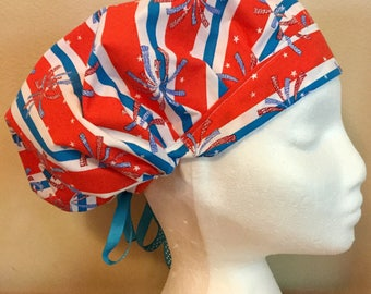 4th of July! Independence Day! Women's Surgical Scrub Hat, Bouffant Style, Patriotic