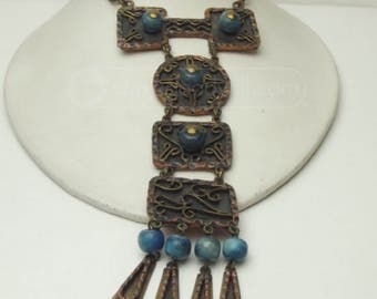 Vintage Casa Maya Necklace Pendant Made In Mexico From The 1950s, Mayan, Aztec, Tribal, Mixed Metals