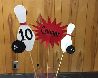 Bowling party centerpieces 3pc set