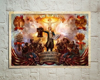 Bioshock Infinite For god and country propaganda video game decor poster