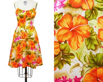 1960s Dress // Hawaiian DeWeese Orange Hibiscus Tropical Smocking Summer Dress