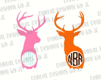 Deer Monogram Digital Download, Cut File SVG, Png, Eps Cut files for Silhouette and Cricut Commercial Use