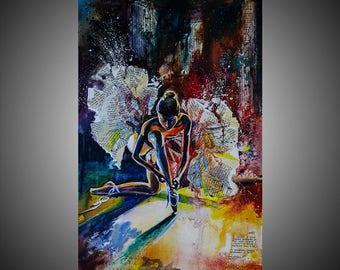 Wings watercolor painting, Ballet, Ballet gift, Ballet painting, Ballet picture, Ballet dancer, Ballet wall art, Ballet decor
