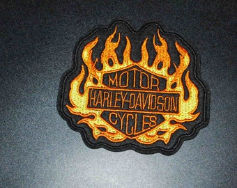 """4"""" Harley-Davidson Motorcycles Flames Logo Crest Shield Embroidered Patch Free USA Shipping!!"""