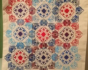 Mandala canvas tote bag in blue and red