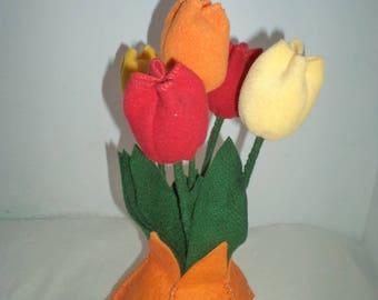 Orange Vase of Tulips/Flowers/Hand-made /Soft Fabrics/Bright Colors/Perfect Gift