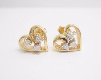 Diamond Earrings, Heart Studs, Diamond Heart Studs, Diamond Studs, 10k Yellow Gold .05 TCW Round Diamond Heart Stud Post Earrings #2979