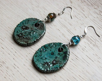 Coxa - ceramic earrings in shades of turquoise