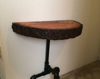 Solid wood live edge nightstand end table