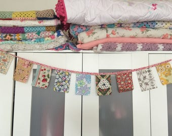 Pretty cotton bunting with bias binding