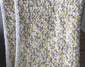 Baby Blanket-White/Yellow/Grey Multi colour