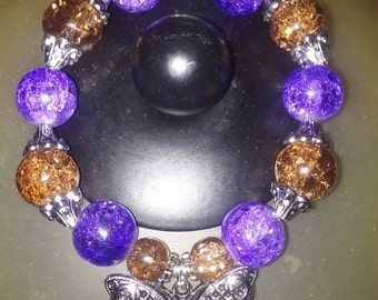 Butterfly braclet purple and brown