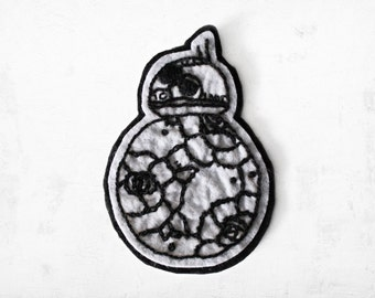 Bb8 included flowers hand embroidered patch