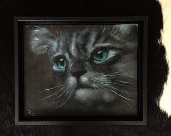 Portrait painting of kitty-cat-acrylic paint-work of art-nature portrait green eye cat-realistic art-Dim. 33 x 27 cm