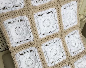 Crochet Granny Square Afghan HANDMADE Lap Blanket, Baby Blanket
