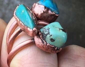 Boho Turquoise Ring / Arizona turquoise ring / Turquoise ring / Large turquoise / Copper ring / Gift for her / bohemian jewelry