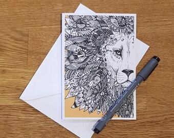 Greetings card | Lion | Lion card | Orange Lion | Lion birthday card | Birthday card