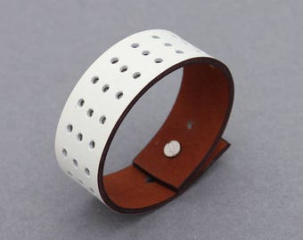 Leather Bracelets Hole Punched Perforated White Cuff Men Women