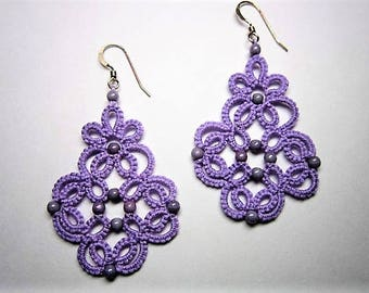 Lavender Lace Earrings, Lavender Earrings, Tatted Earrings, Tatted Lace Jewelry, Beaded Lace, Lace Earrings, Lace Jewelry, Beaded Earrings