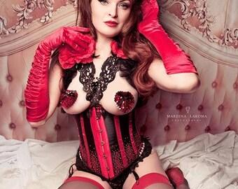 Burlesque Beauty Set- underbust corset, harness and headdress Moulin Rouge
