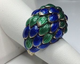 Estate 18K Yellow Gold Blue & Green Enamel Dome Cocktail Ring 18.7 Grams Size 7
