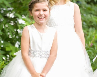 "Flower Girl Dress ""Silver Spark"""