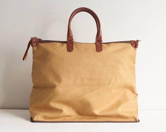 Canvas and Leather Women Tote Bag, Canvas Tote Bag, Women Tote Bag, Canvas Weekender, Large Tote Bag, Zipper Tote Bag, Canvas Handbag Purse