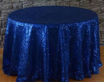 Royal Blue Sequin Round Tablecloth 132 inch