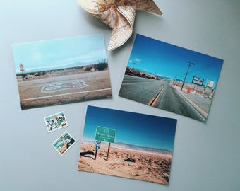 Set of 3 Photo Postcards, On the Road, USA, ideal as a gift card, home decoration, bookmark, to be framed