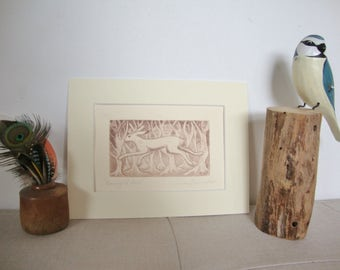 Moonlight Hare 4. Running through the wild wood. Easter. Eostre. Original dry-point etching print.