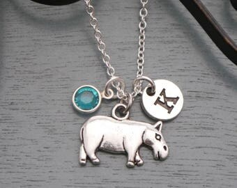 Hippo Necklace, Personalized Hippo Necklace, Hippopotamus Necklace, Initial Necklace, Hippo Jewelry, Hippopotamus Gifts, Hippo, Custom