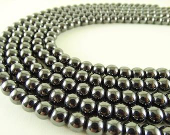 8 mm round hematite beads craft supply beads dark metallic beads hematite 8 mm jewelry making genuine hematite gemstone beads full strand