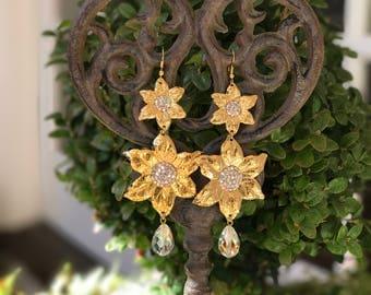 Sunflower with Swarovski Tear Drop crystal earrings
