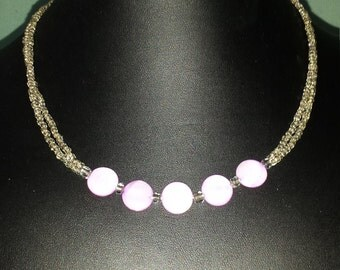 Silver and purple shell necklace