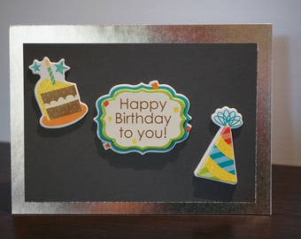 Happy Birthday Card, Black and Silver