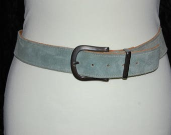 Crazy sale 1970s 1980s Vintage Genuine Suede Leather buckle Belt in Green 34 inches long exc of buckle Made in England