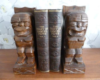 Hand carved wooden tribal bookends