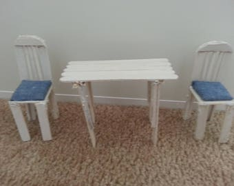 Hand crafted miniature wooden chairs and table set