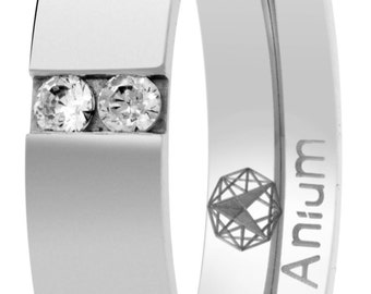 wedding ring shine made of pure titanium with stones